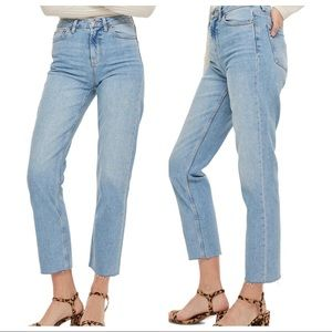 TOPSHOP Moto Straight High Rise Crop Raw Hem Jeans